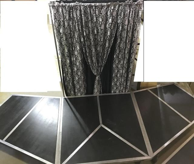 Where to find STAGE, ANGLED BACKDROP BLACK SILVER LACE in Kalamazoo