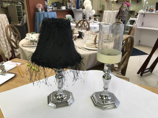 Where to find CANDLESTICK, SILVER WITH CLEAR TOP in Kalamazoo